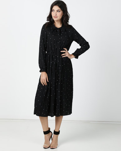 Utopia Chiffon Polka Dot Pleated Shirt Dress Black