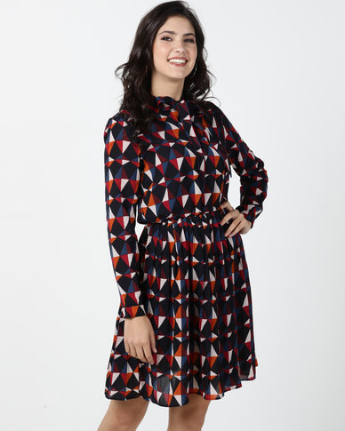 Utopia Geometric Print Georgette Pleated Dress With Bow Detail Multi