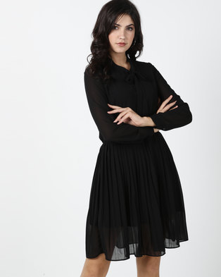 Utopia Georgette Pleated Dress With Bow Detail Black