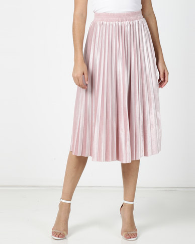 Utopia Pleated Velour Skirt Dusty Pink