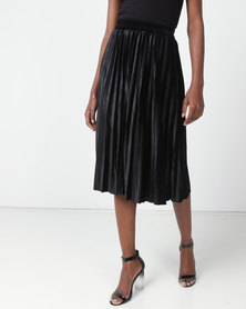 Utopia  Pleated Velour Skirt Black