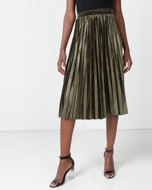 Utopia Pleated Velour Skirt Olive