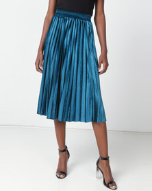 Utopia Pleated Velour Skirt Teal