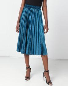 Utopia Pleated Velour Skirt Teal