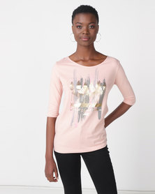 Jeep Foil Print 3/4 Boat Neck Tee Peach