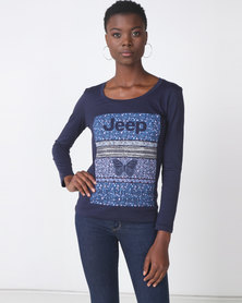 Jeep Long Sleeve Print Floral Logo Tee Navy