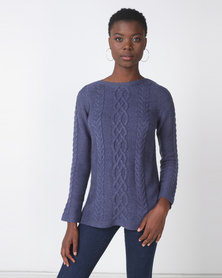 Jeep Acrylic Blend Cable Knit Jersey Blue Melange
