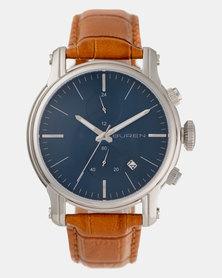 Buren Design Gents Crocodile Strap Watch Silver Gold-Plated/Tan