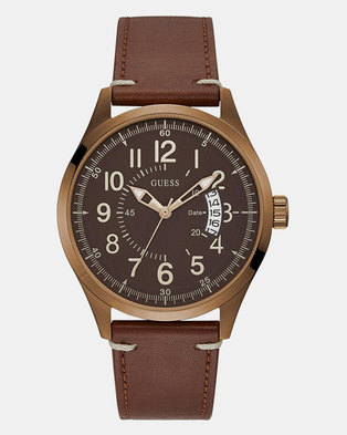 Guess Mens Dakota with Leather Strap Watch Brown