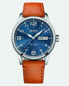 Hugo Boss Pilot Vintage Watch Leather Strap Neutrals