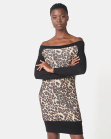 N'Joy Monroe Leopard Print Bardot Dress