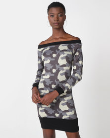 N'Joy Olivia Camo Print Shift Dress