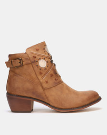 PLUM Block Heel Ankle Boot Taupe