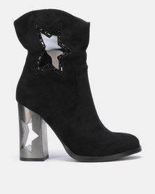 PLUM Block Heel Ankle Boots Black