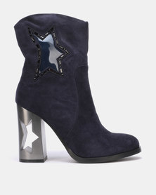 PLUM Block Heel Ankle Boots Navy