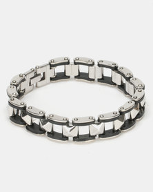 Digitime Square Link Stainless Steel Bracelet Silver