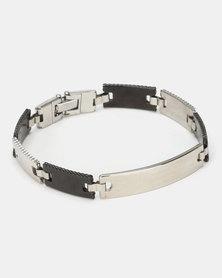 Digitime Rectangular Link Stainless Steel Bracelet Silver Black