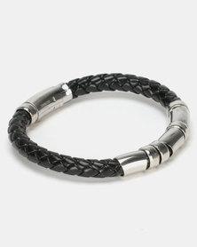 Digitime Braided Stainless Steel Bracelet Silver/Black
