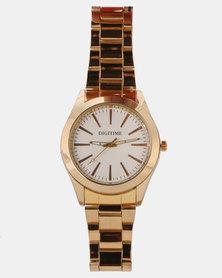 Digitime Gullion White Dial Watch Gold