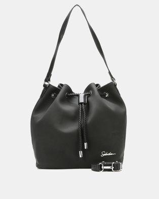 Seduction Drawstring Bucket Bag Black