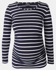 Cherry Melon Round Neck Top Navy/White Stripe