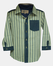 Razberry Kids Blue/White Stripe Toddler Boys Shirt With Denim Trim