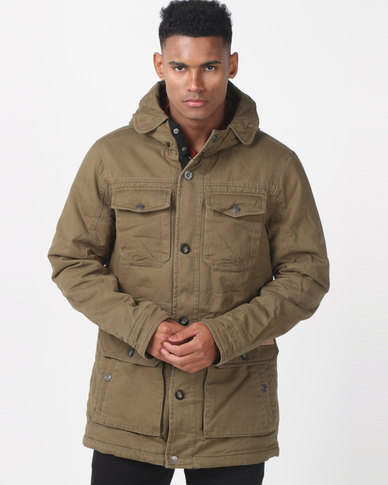 Jeep Hooded & Padded Twill Military Jacket Combat Green