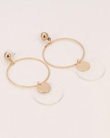 All Heart Double Disk Drop Earrings Gold