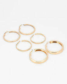 All Heart 3PK Hoop Earrings Gold