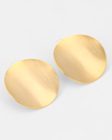 All Heart Curved Disk Earrings Gold