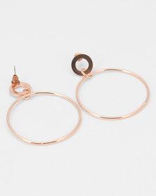 All Heart Circle Drop Earrings Rose Gold