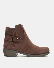 Gia Leather Back strap Ankle boots Brown