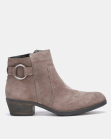 Gia Leather Cuban heel ankle boots Grey
