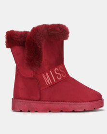 Miss Black RAE Ankle Boots Burgundy