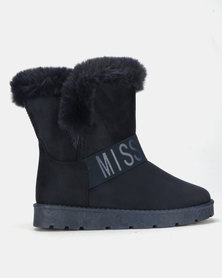 Miss Black RAE Ankle Boots Navy