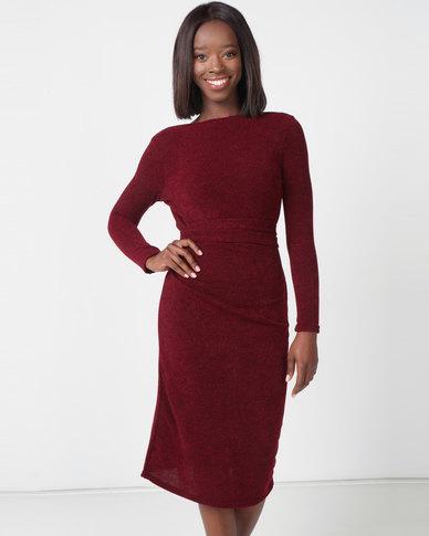 Utopia Cut N Sew Tie Front Dress Burgundy