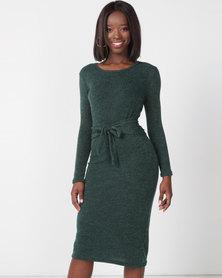 Utopia Cut N Sew Tie Front Dress Green