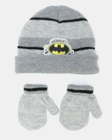 Character Brands Batman Beanie & Mittens Grey