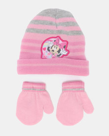 5e78c588989eeb Character Brands Minnie Mouse Beanie & Mittens Set Pink MITTENS