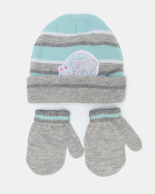 Tiny Tatty Teddy Beanie & Mittens Grey