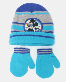 Mickey Beanie & Mittens Set Blue