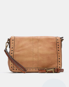 Queue Over The Body With Studs Crossbody Bag Taupe