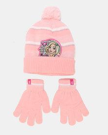 Character Brands Barbie Beanie & Glove Set Peach