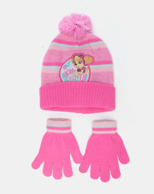 Character Brands Paw Patrol Beanie & Gloves Set Pink