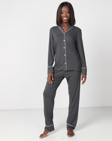 Poppy Divine Classic PJ Set Charcoal