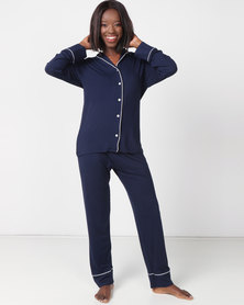 Poppy Divine Classic PJ Set Navy