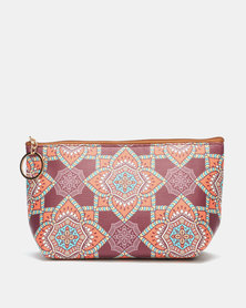 Lily & Rose Indian Floral Print Cosmetic Purse Multi