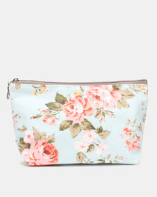 Lily & Rose Floral Cosmetic Purse Blue