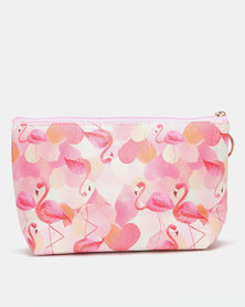 Lily & Rose Flamingo Hearts Cosmetic Purse Pink