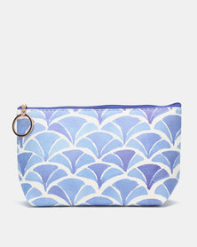 Lily & Rose Print Cosmetic Purse Blue